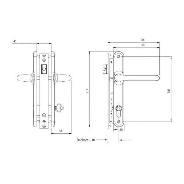 Palladium Kit - 30mm Backset - Locking Latch